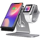 Bestand 2 en 1 Apple Watch Soporte & Soporte Cargador Inalámbrica para iPhone X / iPhone 8 / 8 plus / Samsung Galaxy S8 Note 8 y otros dispositivos que permiten Qi Carga Inalámbrica (Gris)