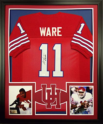 Andre Ware Houston Cougars Autograph Signed Custom Framed Jersey Heisman  Inscribed JSA Witnessed Certified 7aa411f1b