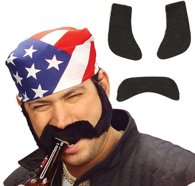 NET TOYS Favoris avec rouflaquettes C/ôtelettes postiche Noir Barbe /à Coller Moustache synth/étique Accessoire de d/éguisement Motard Fausse Barbe Mascarade