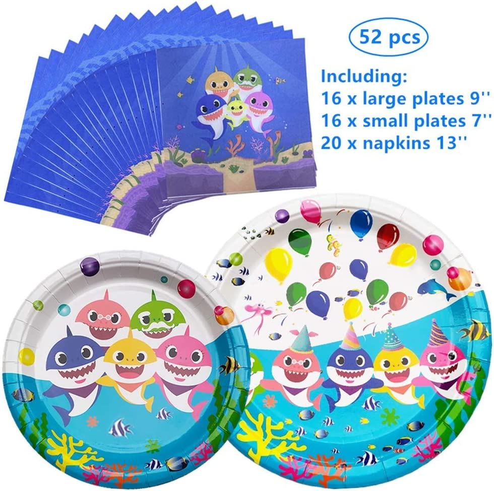 Baby Cute Shark Party supplies Thickened and Waterproof of Surface Coating Napkins and Party Plates Tableware Set for Boys Girls Kids Birthday(52pcs-Serves 16 Guests)