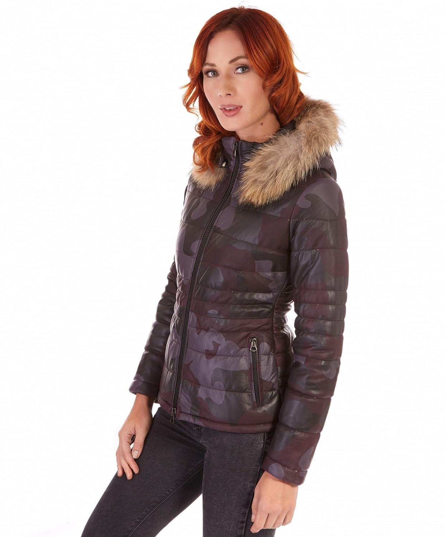 5a8c8db1a8420 D Arienzo - Ladies • Couleur Bordeaux Militaire • Doudoune Femme avec  Capuche bordé Fourrure - L, Bordeaux  Amazon.fr  Vêtements et accessoires