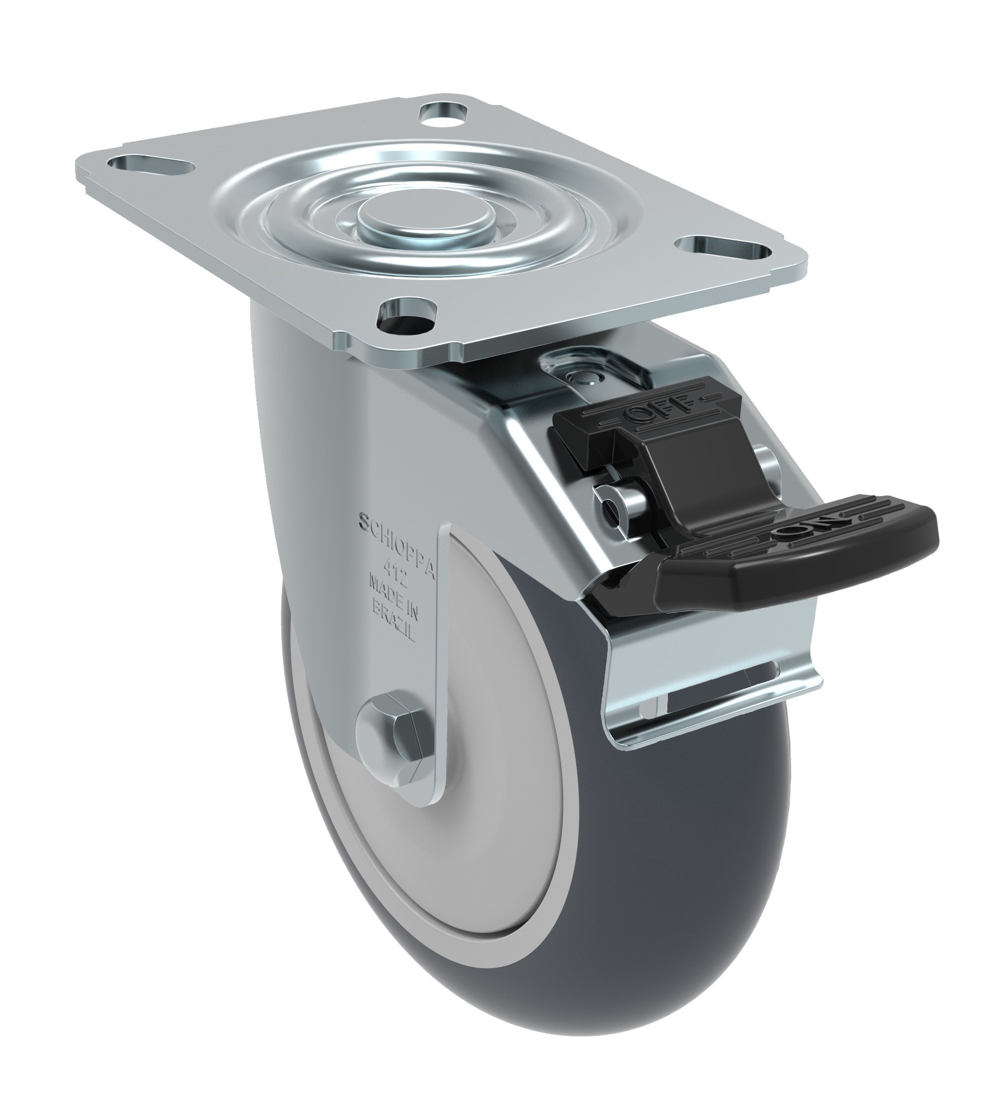 Schioppa GL 412 TBE G L12 Series 4'' x 1-1/4'' Diameter Swivel Caster with Total Lock Brake, Non-Marking Thermoplastic Rubber Precision Ball Bearing Wheel, Plate 3-1/8'' x 4-1/8'' (Bolt Holes 3-1/8'' x 2-1/4''), 220 lb