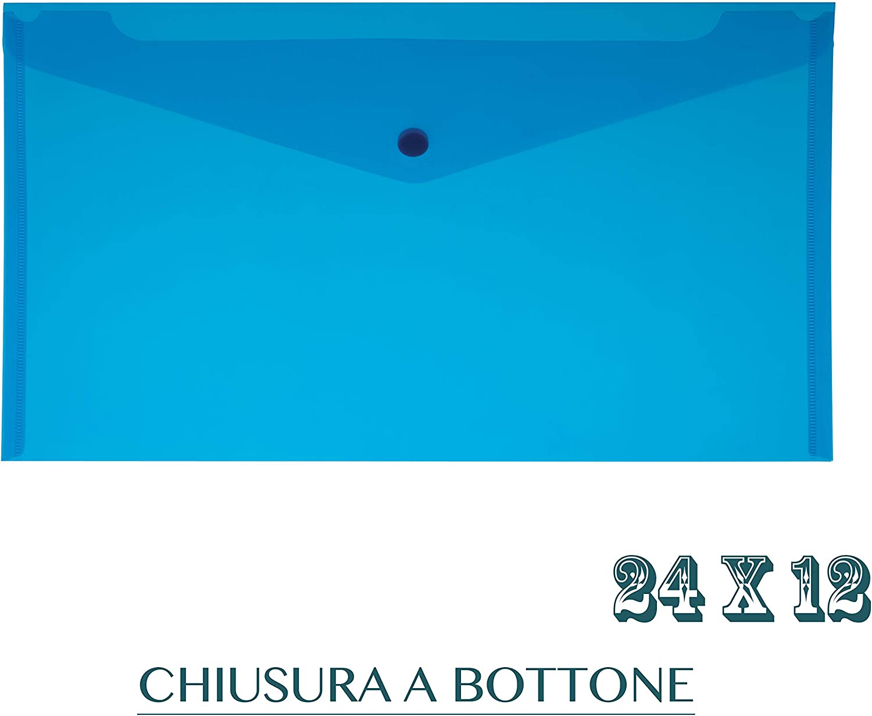 Blu 5 Pz Busta con Bottone Voucher Formato 24x12 Conf