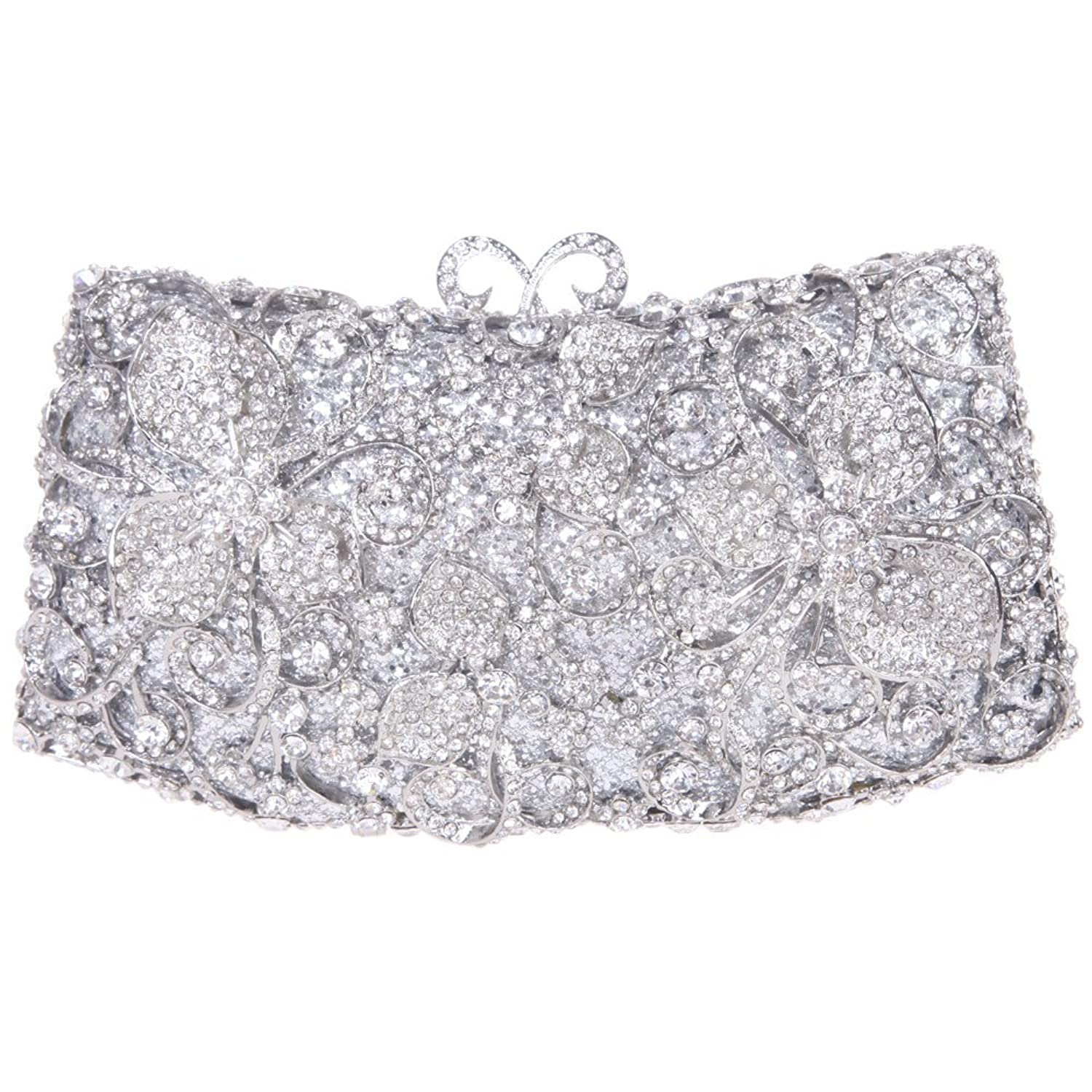 Santimon Women Clutch Butterfly Lock Purse Rhinestone Evening Bags with Removable Strap 4 Color