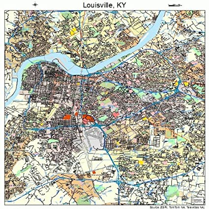 Amazon.com: Large Street & Road Map of Louisville, Kentucky KY ...