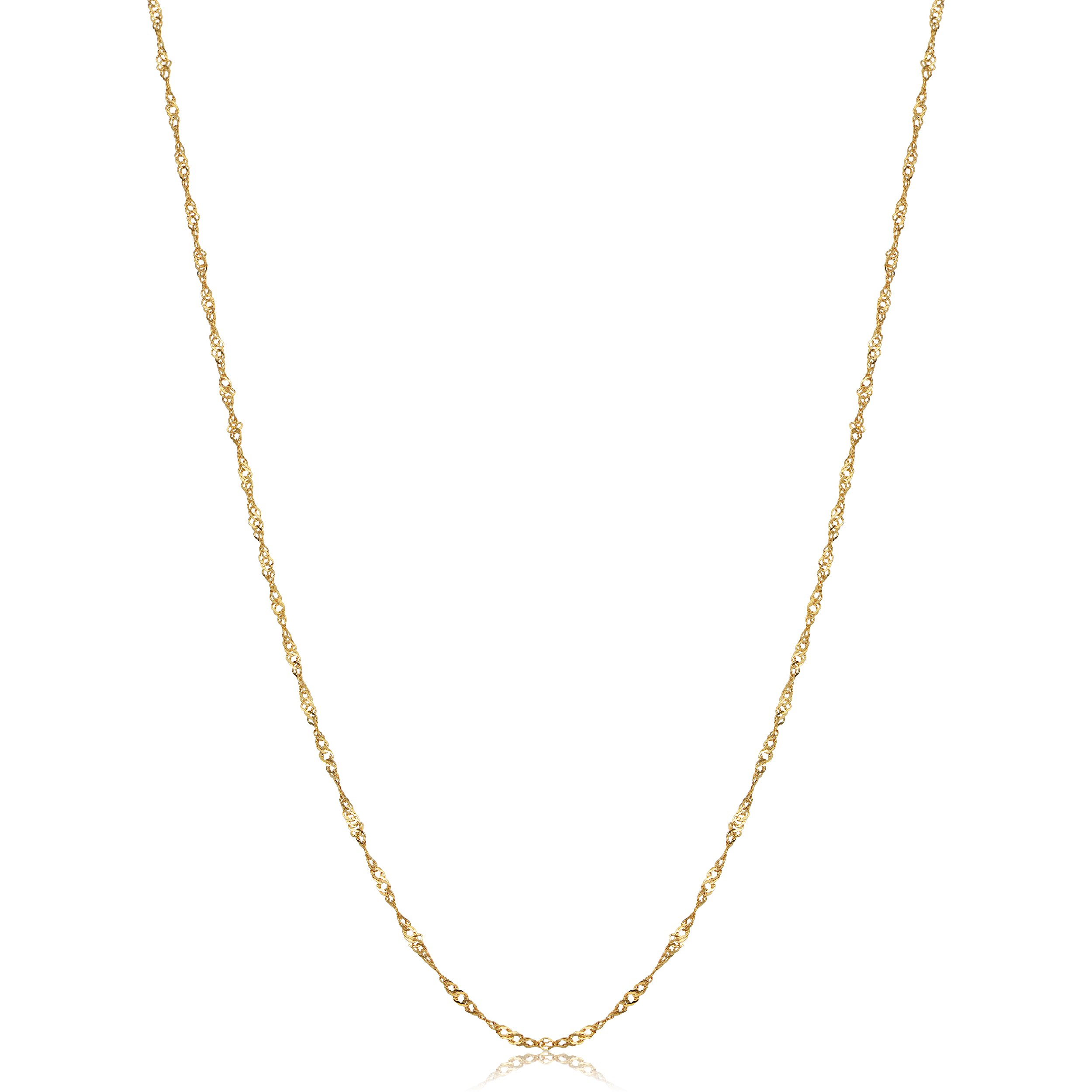 Solid 10k Yellow Gold Dainty Singapore Chain Necklace (0.85mm, 20 inch)