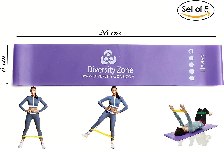 Lot de 5 Bandes de R/ésistances Vid/éos et Ebook Offert pour Fitness avec Guide dexercices Diversity Zone Bande /Élastique Fitness /& Musculation