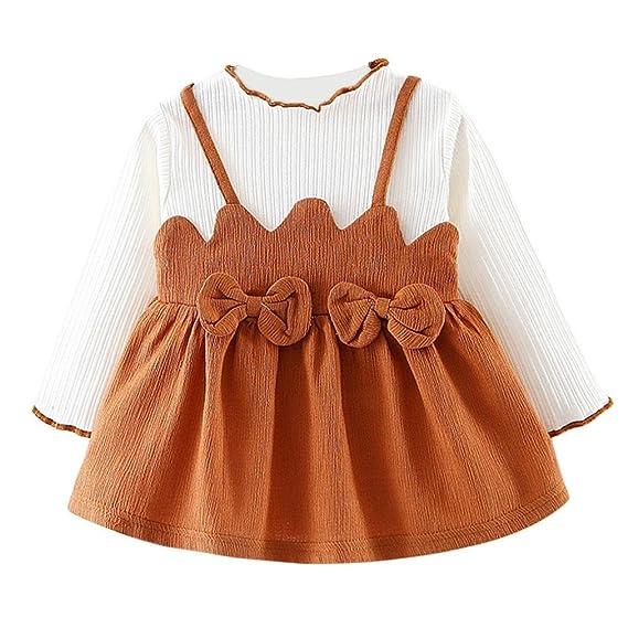 Vestido de niñas, ❤ Manadlian Niño Niños bebé niña lazo Rodillera larga Ropa Manga Larga Fiesta Princesa Ropa: Amazon.es: Ropa y accesorios