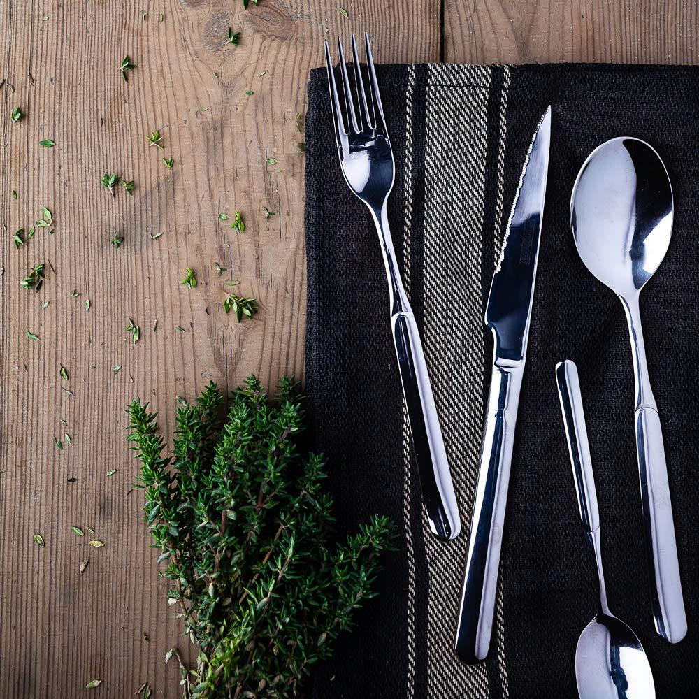 Monix Milán - Set de cubiertos de 24 piezas con cuchillo chuletero, acero inoxidable 18/10, diseño contemporaneo, acabado pulido brillante, espesor 2 ...