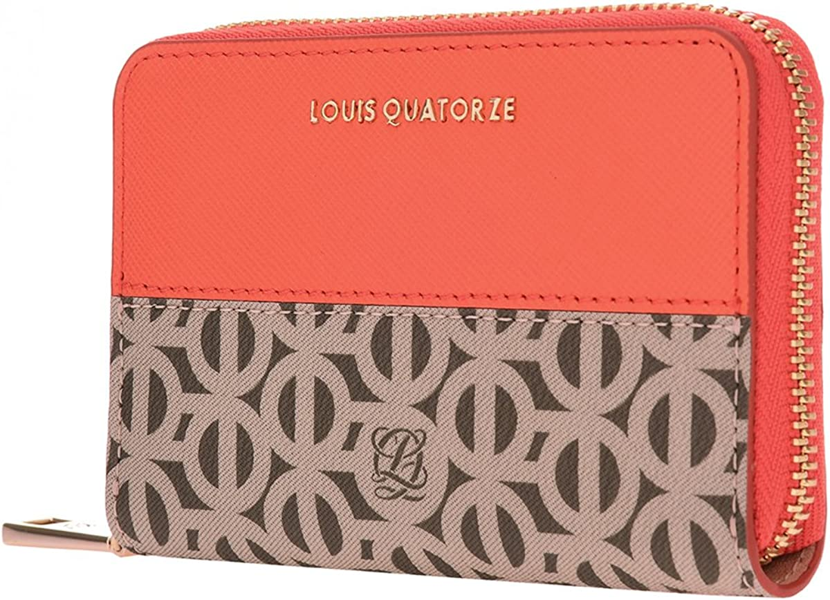 LOUIS QUATORZE Womens Cow Leather Bifold Wallet with Zipper SK2NI71OR One Size Orange