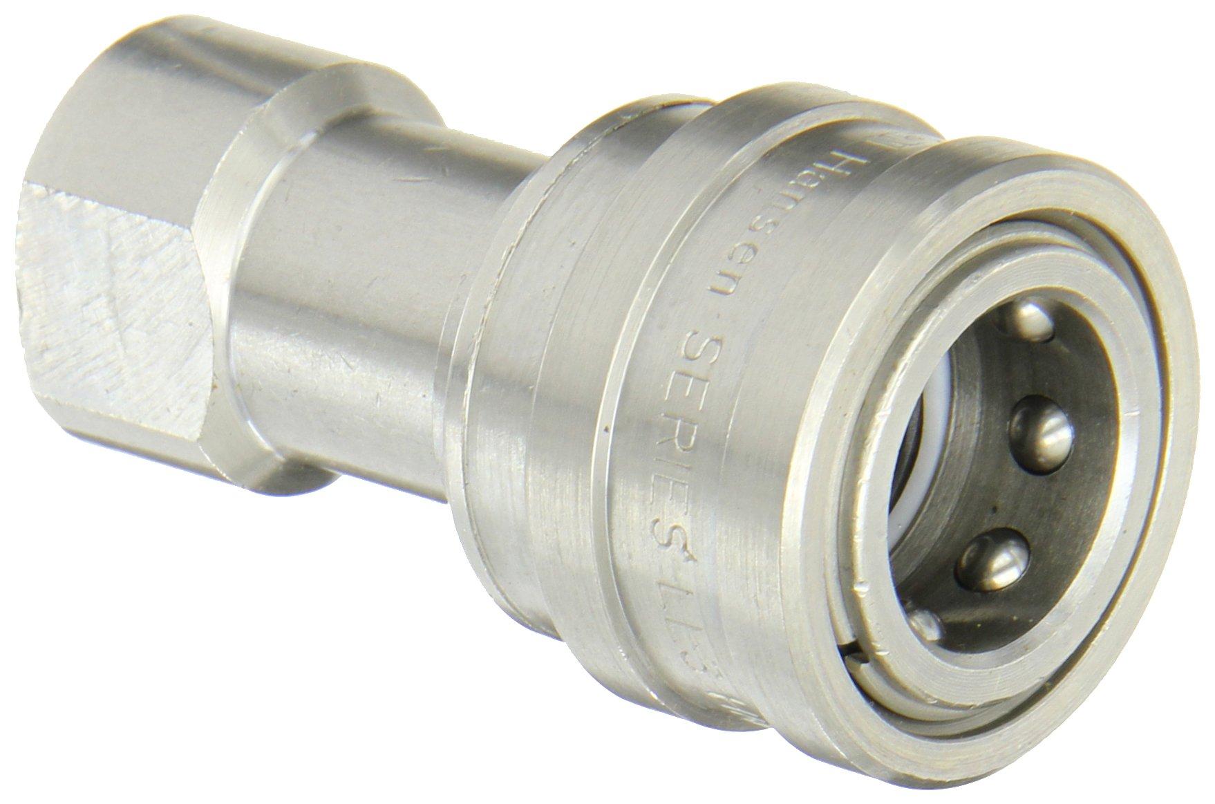 Eaton Hansen LL3H21 Stainless Steel 303 ISO-B Interchange Hydraulic Fitting, Socket with Valve, 3/8''-18 NPTF Female, 3/8'' Body