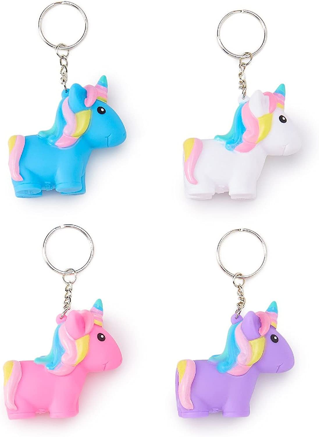 NOVELTY SET OF 4 UNICORN SQUEEZE AND POOP KEYRING KEY CHAIN PARTY BAG GIFT