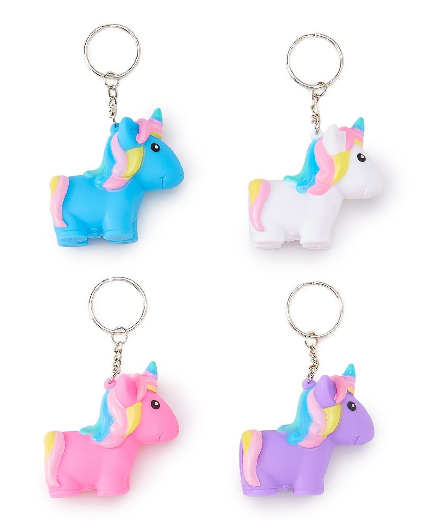 4 Pack Squeeze N Poop Glitter Unicorn Keychain - White, Pink, Blue & Purple