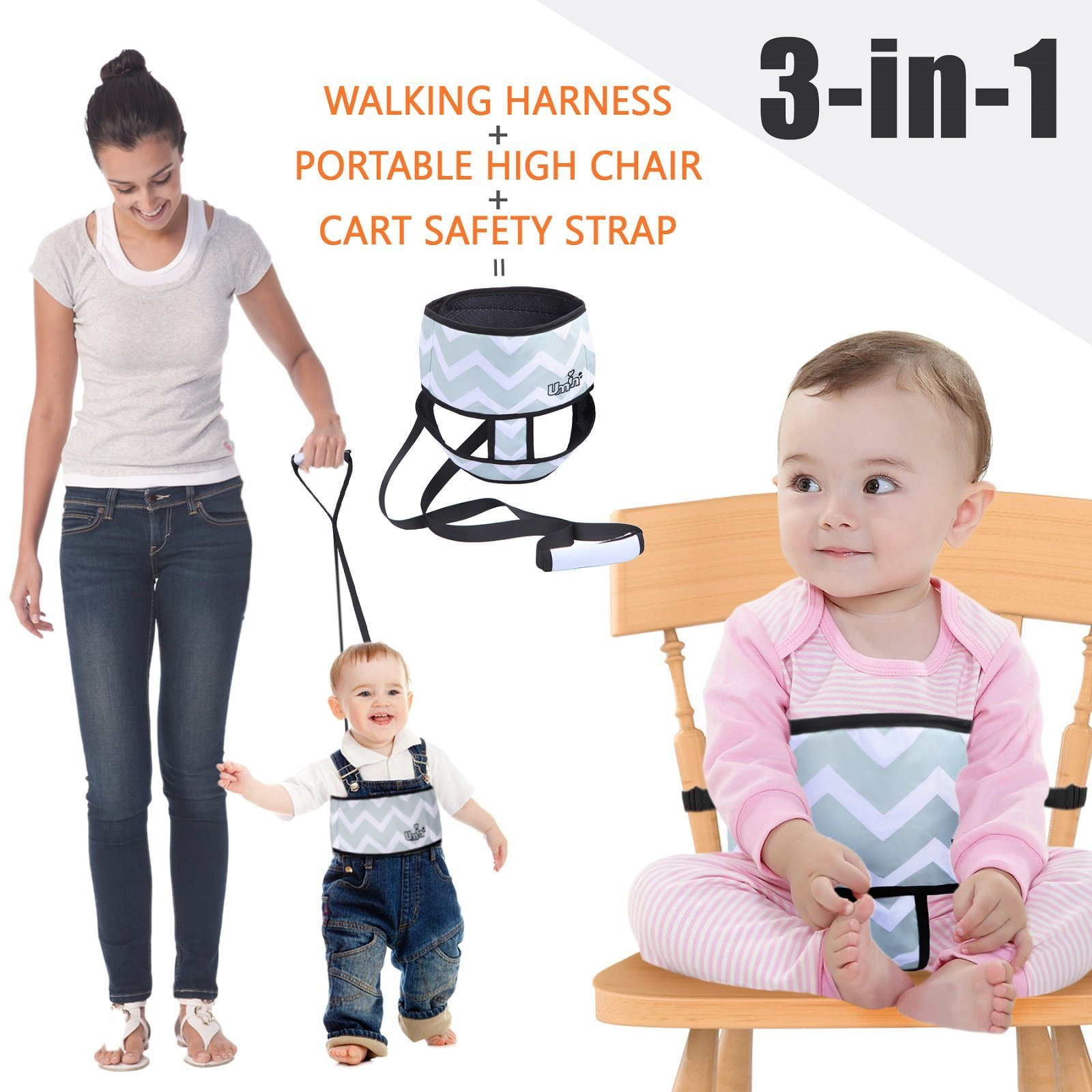 Umin 3 In 1 Portable/ Travel High Chair + Toddler Safety Walking Harness+ Sho.. 10
