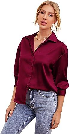 Soly Hux - Blusa de satén para mujer, talla grande, con ...