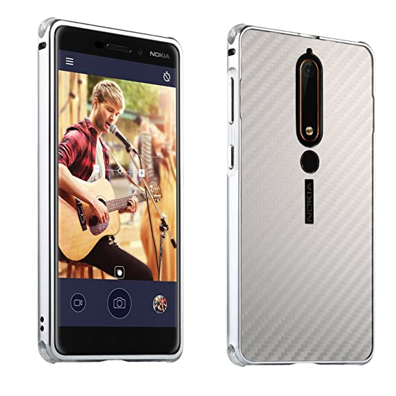 outlet store sale aa45c fd770 Nokia 6.1 (Nokia 6 2018) Case, ZLDECO Stylish Edge Shockproof Metal Frame +  Carbon Fiber Plastic Back Bumper Cover with 1 Tempered Glass Screen ...