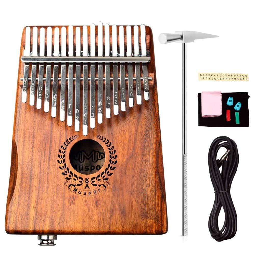 Jingdian 17 Keys EQ kalimba Acacia Thumb Piano Link Speaker Electric Pickup with Bag Cable