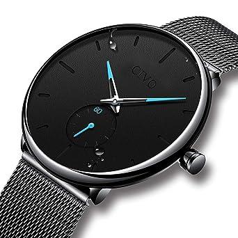 Relojes Negros para Hombre Reloj de Malla Impermeable de Acero Inoxidable para Hombres Reloj Elegante de