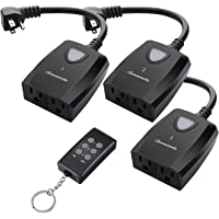 DEWENWILS Outdoor Indoor Remote Control Outlet Power Strip Weatherproof, Wireless Electrical Plug in Light Switches, Separately Controlled 3 Pack Receivers, 15 AMP, 100 Feet Range, ETL Listed