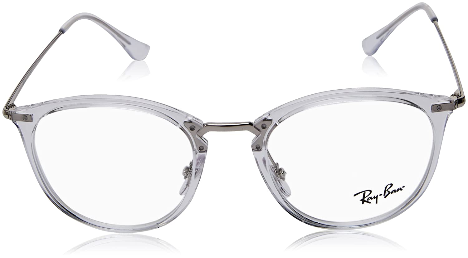 9962725f55 Amazon.com  Ray-Ban 0rx7140 No Polarization Square Prescription Eyewear  Frame Transparent 49 mm  Clothing