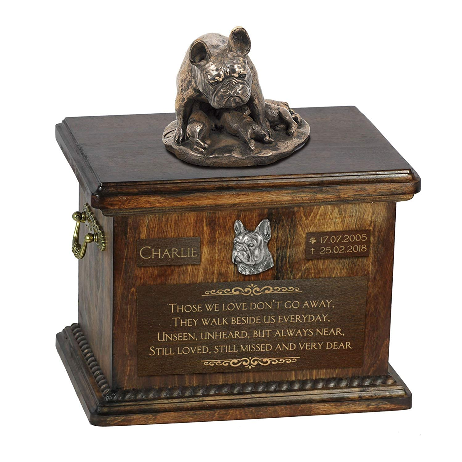 French Bulldog mama 2, Urn for Dog Ashes Memorial with Statue, Pet's Name and Quote ArtDog Personalized