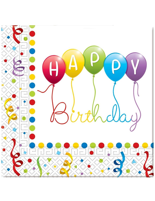 20 Tovaglioli di carta Happy Birthday 33 x 33 cm Taglia Unica Procos 108907632