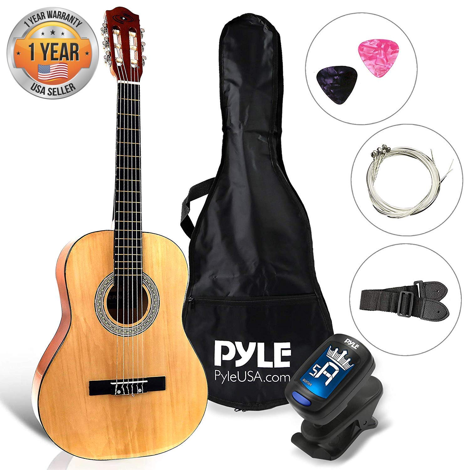 "Beginner 36"" Classical Acoustic Guitar - 6 String Junior Linden Wood Traditional Guitar w/Wooden Fretboard, Case Bag, Tuner, Nylon Strings, Picks, Cloth, Great for Beginners, Children - Pyle PGACLS82 by Pyle (Image #1)"