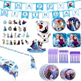 Frozen 2 Party Supplies Set - 82pcs Birthday Decorations,10-Kids Frozen 2 Theme Party includes Happy Birthday Banner,Tablecover,Plates,Knives,Spoons,Forks,Cake Toppers,Foil Balloons