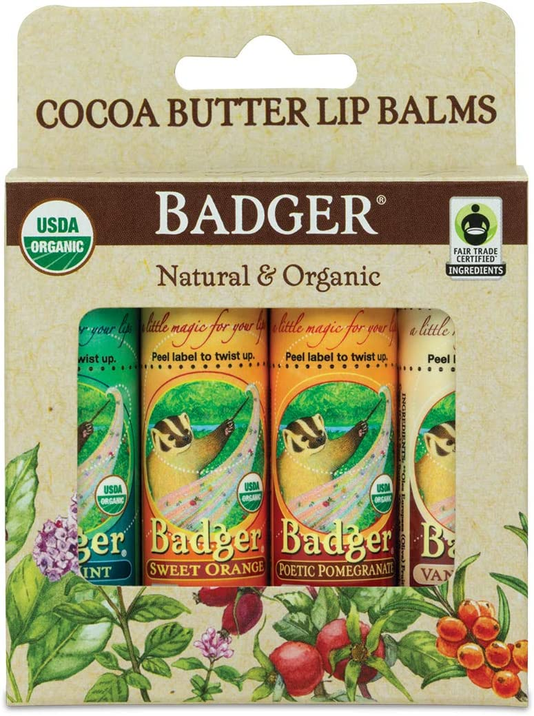 Badger - Cocoa Butter Lip Balm Set, Fair Trade, Certified Organic Lip Balm, Lip Butter, Flavored Lip Balm, Pomegrante, Orange, Vanilla and Mint, 0.25 oz (4 Pack)