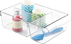 "iDesign Linus Plastic Fridge and Freezer Divided Storage Organizer Bin with Handle, Clear Container for Food, Drinks, Produce Organization, 8"" x 11.5"" x 3.5"" - Clear"