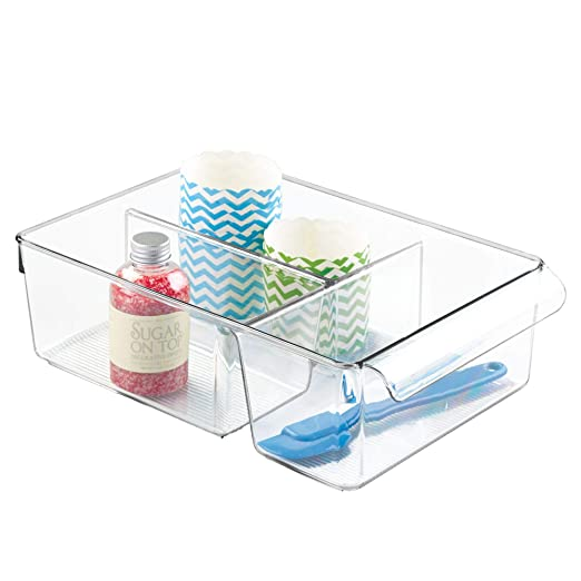 organizador de condimentos y envases InterDesign Linus Caja para cocina blanco organizador de pl/ástico con 3 compartimentos