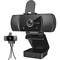 Webcam with Microphone Full 1080P HD with Privacy Cover & Tripod 110°Wide View Angle Plug and Play Laptop Desktop USB 2…