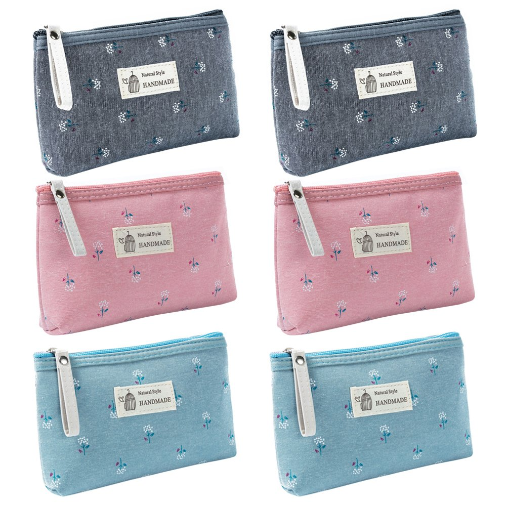Aspire 6-Pack Flower Floral Makeup Bags (3-4 Colors), Canvas Zipper Pouches, Wedding Favor