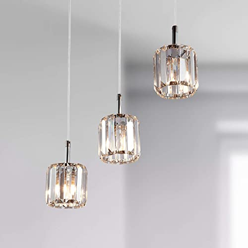 Maxax Modern Crystal Kitchen Linear Island Glass Chandelier Pendant Fixture-3 Lights