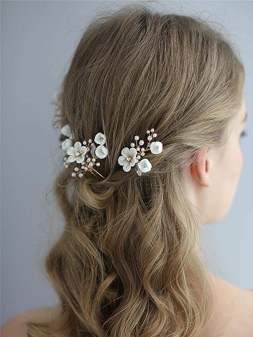 Rose head piece Living coral wedding Real touch flower hair piece Bridal hair pins set 5 Floral hair clip for bride Bridesmaid hair pin