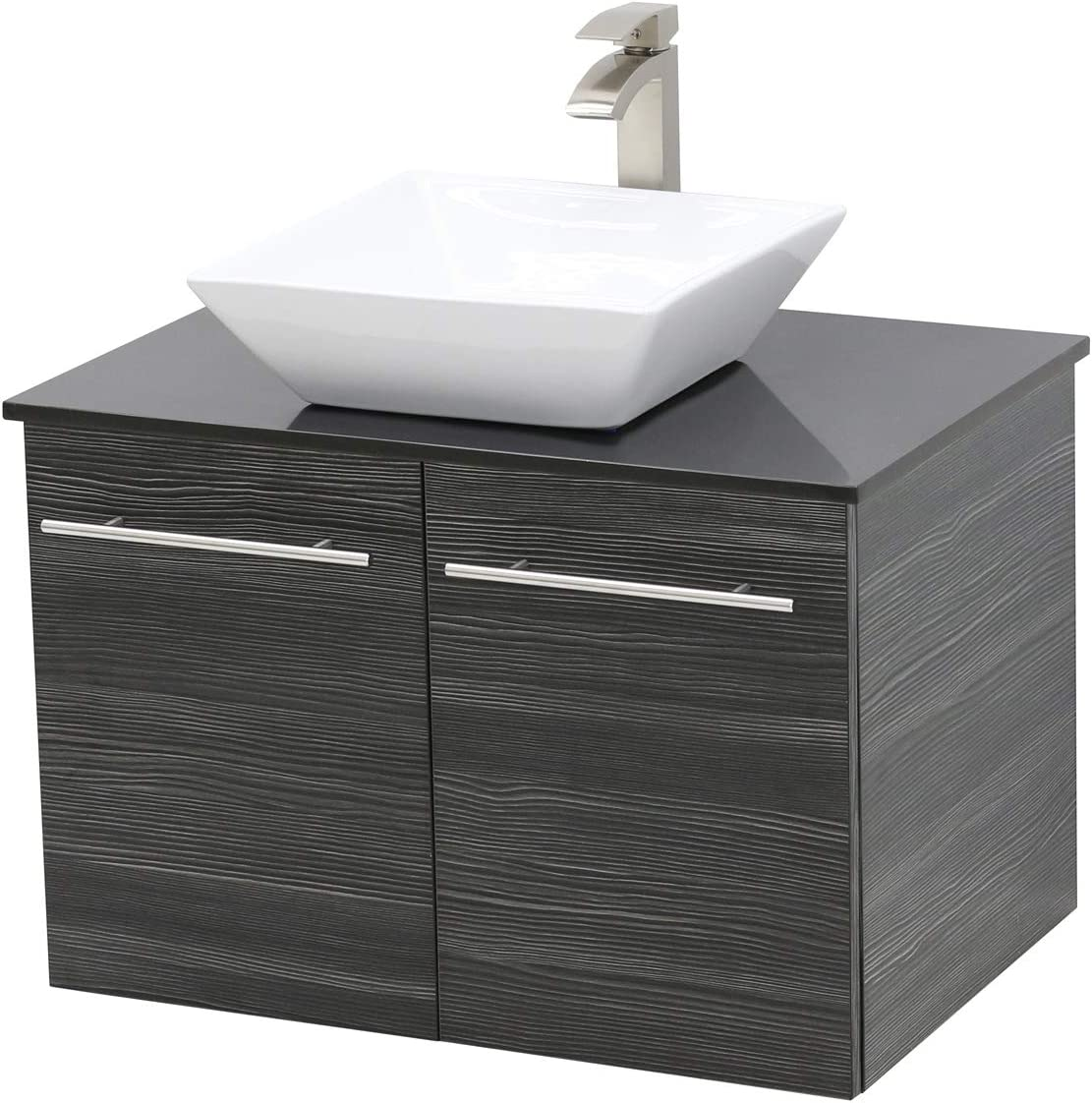 WindBay Wall Mount Floating Bathroom Vanity Sink Set. Dark Grey Vanity, Black Flat Stone Countertop Ceramic Sink – 30