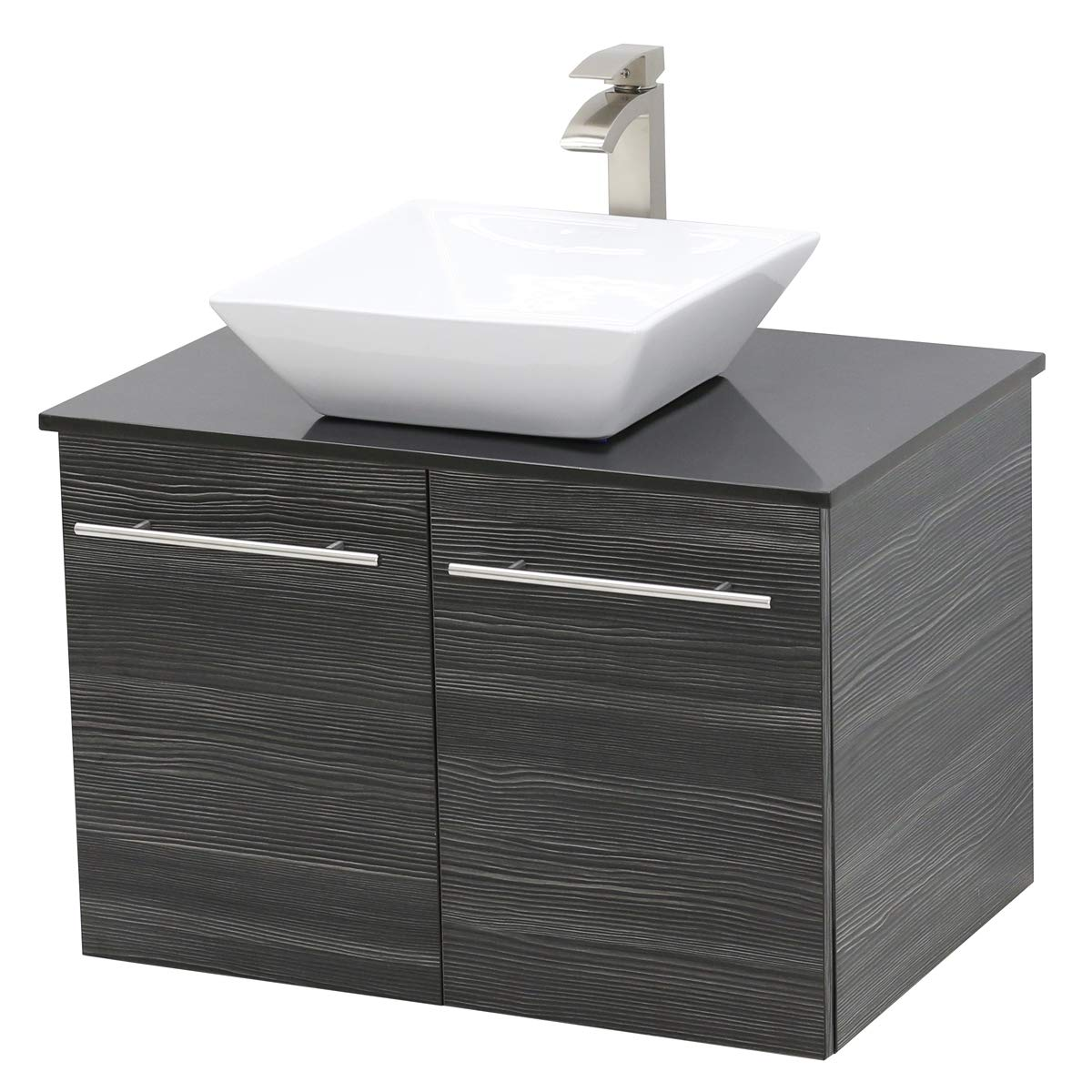 WindBay Wall Mount Floating Bathroom Vanity Sink Set. Dark Grey Vanity, Black Flat Stone Countertop Ceramic Sink – 24
