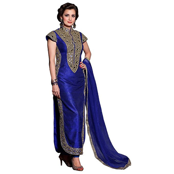 7d874841fd4 Jay Sarees Bollywood Diya Mirza Blue Mirror Work Unstitched Salwar Suit   Amazon.ca  Clothing   Accessories