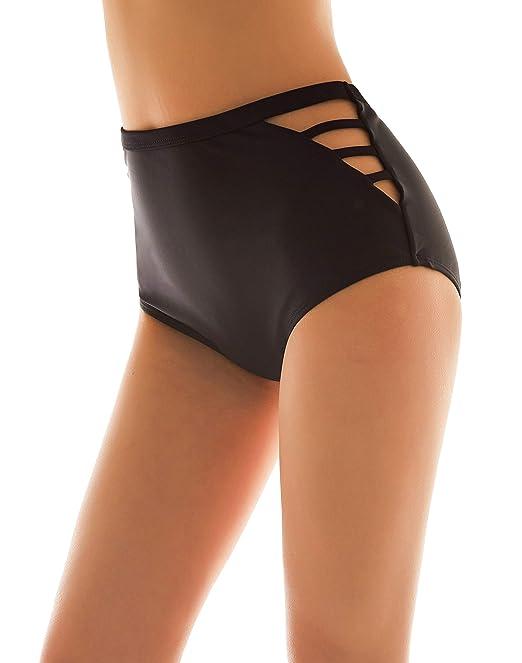 e11b66970c SHEKINI Donna Nero Costumi da Bagno Donna Vita Alta Brasiliana Briefs  Pantaloni Parte Inferiore Tanga Bikini