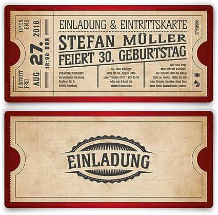 Eintrittskarte Ticket Einladung Vintage Einladungskarten zum Geburtstag