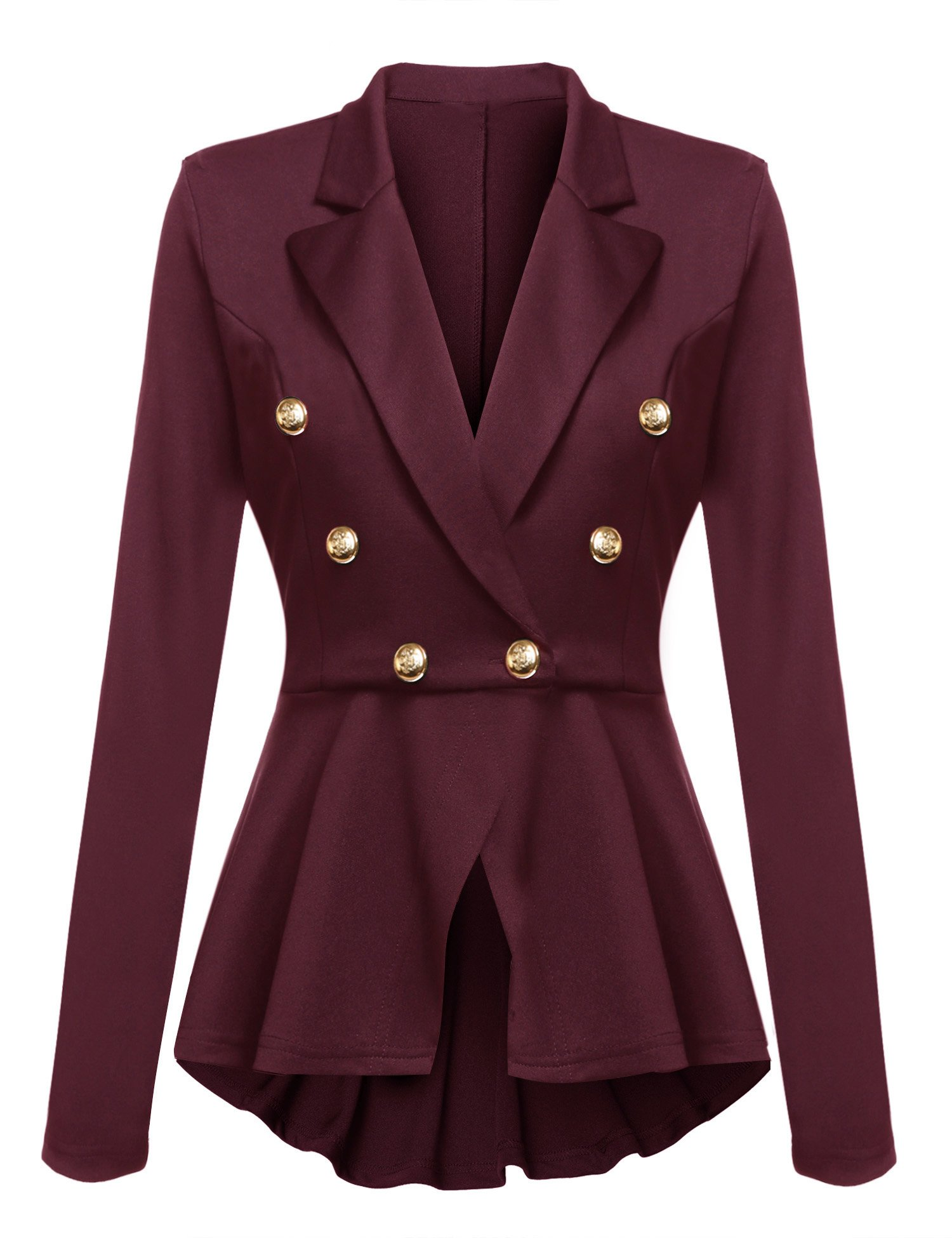 Gumod Women's Cotton Rolled Up Sleeve Blazer Jacket Suits With Buttons Wine Red XL