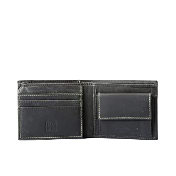 Amazon.com | Small man billfold wallet vintage leather with zip pocket DUDU Black | Luggage & Travel Gear