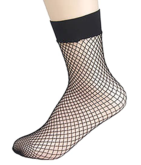 ThreeH 4 Pairs Fishnet Socks Ankle Mesh Sock (Medium Hole