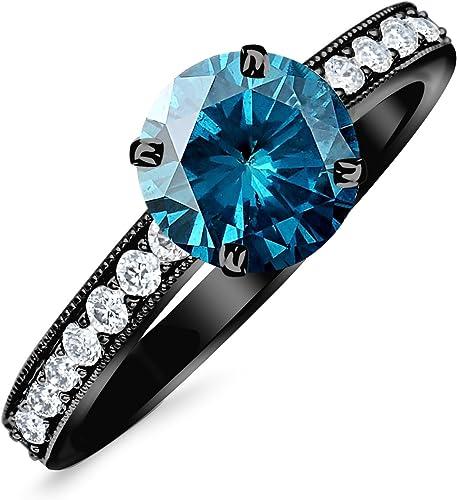 0 8 Carat 14k Black Gold Classic Side Stone Pave Set With Milgrain Diamond Engagement Ring With A 0 5 Carat Blue Diamond Center Heirloom Quality Amazon Com