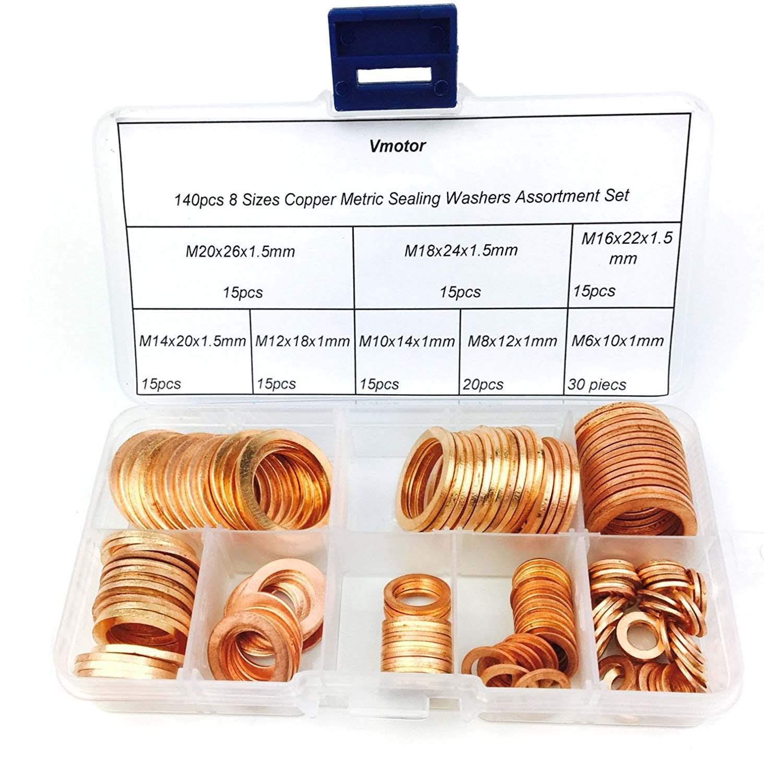 Vmotor 8 Sizes Copper Metric Sealing Washers Assortment Set 140Pcs