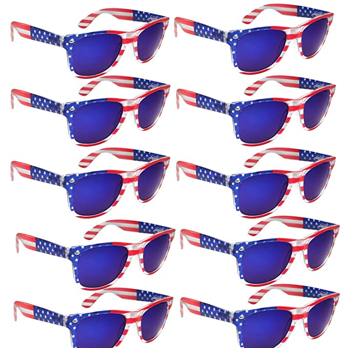 90747ddd42d BULK WHOLESALE UNISEX 80 S RETRO STYLE BULK LOT PROMOTIONAL SUNGLASSES - 10  PACK (Assorted American Flag)  Amazon.ca  Clothing   Accessories