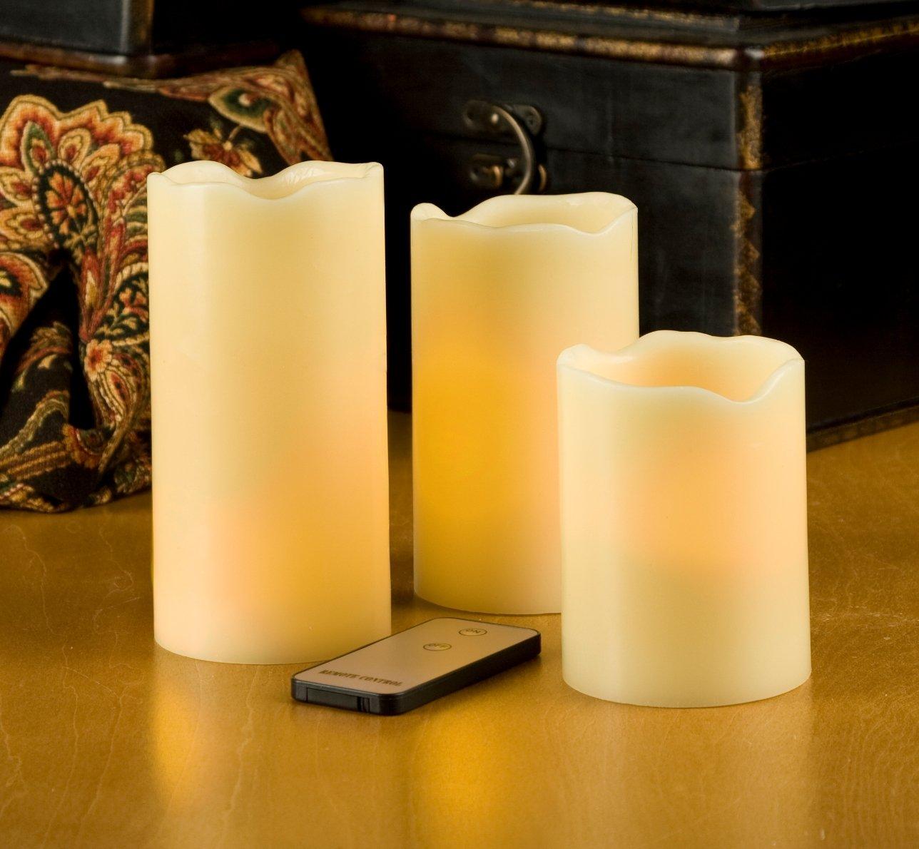 amazon com everlasting glow led ivory pillar candles remote