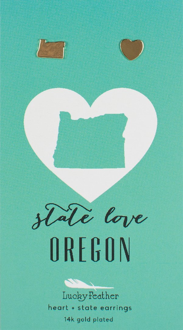 Lucky Feather State Love Oregon Earrings