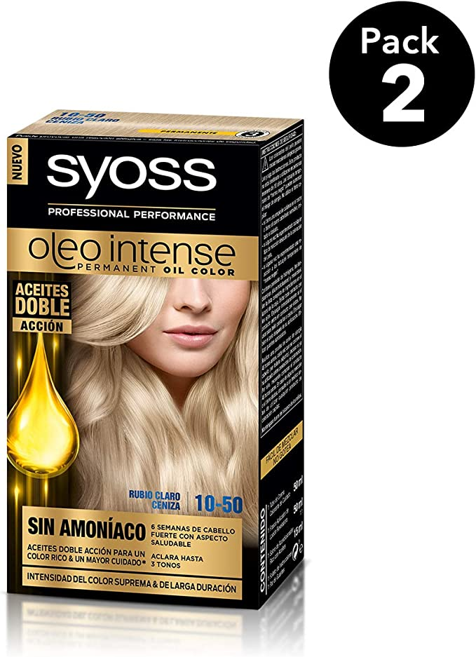 SYOSS - Oleo Intense Coloración Permanente Sin Amoníaco - Tono 10.50 Rubio Claro Ceniza - 2 uds