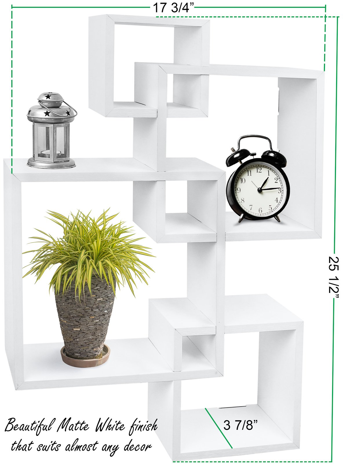 Greenco Decorative 4 Cube Intersecting Wall Mounted Floating Shelves- White Finish - Decorative intersecting floating shelves Made of durable MDF laminate. Beautiful White finish that suits almost any decor. Easy to mount with all necessary hardware Included. Hardware is not visable when mounted - wall-shelves, living-room-furniture, living-room - 71NyXpGu1yL -